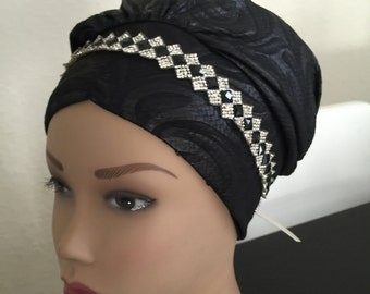 Silver leather head jewelry