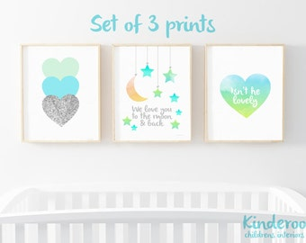 Turquoise, Mint and Silver Set    Baby Boy Nursery   Star, Heart and Cloud Prints   Set of 3   Watercolour Prints
