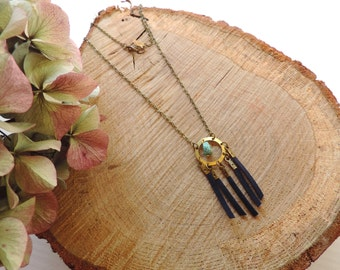 Bohemian Necklace, turquoise necklace, antique bronze brass, suede, navy blue, gypsy
