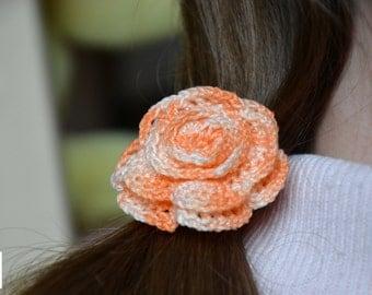 Flower rose crochet hair elastic handmade