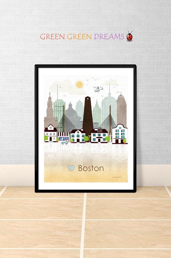 Boston Print Wall Art Poster Printable Boston By