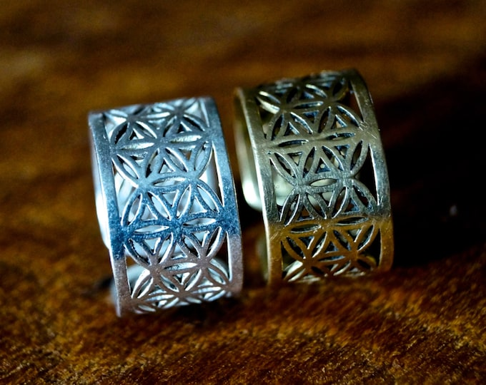 Featured listing image: Flower of Life Ring Brass/ Silver coated, Adjustable Ring for Men and Women, Sacred Geometry Ring