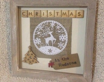 Christmas family frame, personalised family christmas frame, personalised family name frame, rustic Christmas frame, Christmas decoration,
