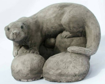 Stone Otter Garden Sculpture