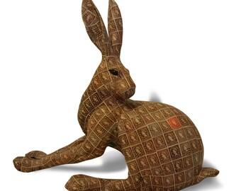 Stoneware Hare / Jack Rabbit  Sculpture with Queen Elizabeth  Stamps 1952.