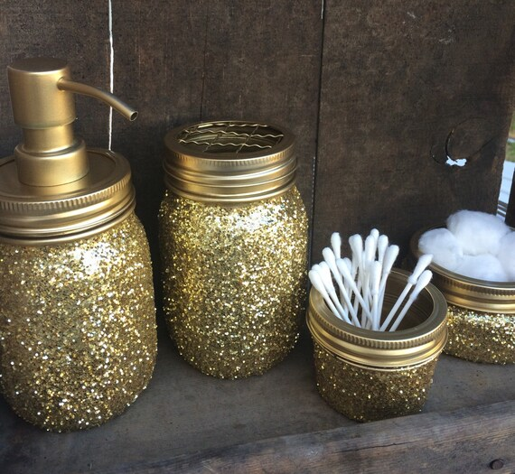 Rustic country mason jar bathroom sets trendy new designers for Blue and gold bathroom sets