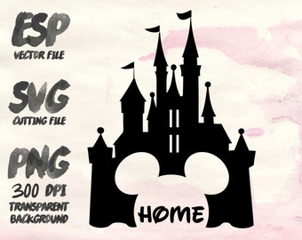 Disney castle Clipart , SVG Cutting , ESP Vectors files , T shirt , iron on , sticker ,Personal Use