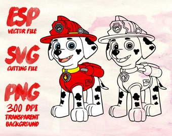 Marshall Paw Patrol Clipart , SVG Cutting , ESP Vectors files , T shirt , iron on , sticker ,Personal Use