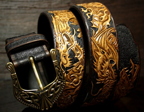 handmade tooled leather belt carved belt with