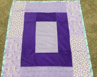 Purple flannel and cuddle cloth baby quilt