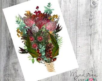 Native Australian Flowers Bouquet wall art, poster watercolor art print graphic illustration leaves, flowers, Australia