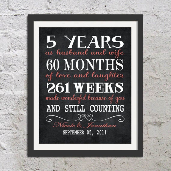 5th Year Anniversary: CHALKBOARD Five Year Anniversary Gift For By CleopatrasPearls