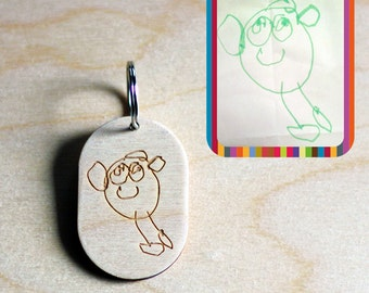 Personalised Etched Keyring - Made from YOUR child's artwork