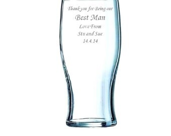 Tulip Pint beer lager Glass PERSONALISED & ENGRAVED