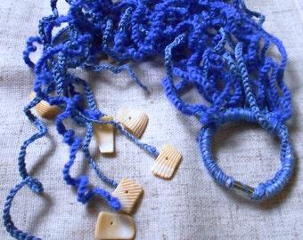 """Blue Long braid!pieces of sea shells""""knitted hair"""" elastic band hair,hair jewelry,blue hair jewelry,knite hair,crochet accessories,Elastics"""