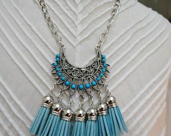 Turquoise Pale Blue Faux Suede Tassel Silver Bib Necklace - NRU269