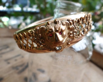 1910 Antique Edwardian 10ct Rose Gold GF F.M.CO Jewelled Lion Head Bangle Bracelet - BEB009