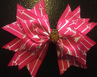 Pink owl spikey bow 6 inches
