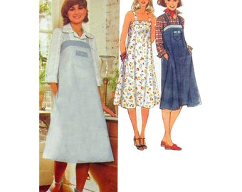 1978 Simplicity 8466 Sundress or Jumper with Shoulder Straps and Side Seam Pockets, Uncut, Factory Folded Sewing Pattern Size 18 Bust 40""
