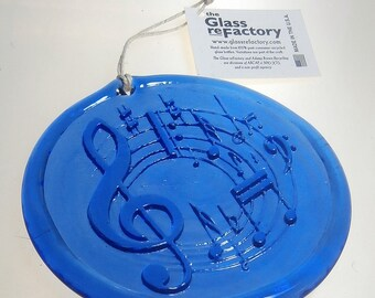 Recycled music suncatcher, blue music ornament, unique window art
