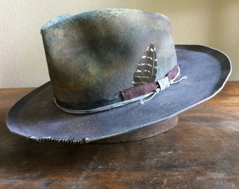 Wide brim fedora, hand made fedora, custom hat, one of a kind hat