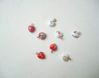 Vintage Japanese millefiori beads (8), Japanese millefiori hearts, millefiori splatter glass, red heart charms, white heart charms