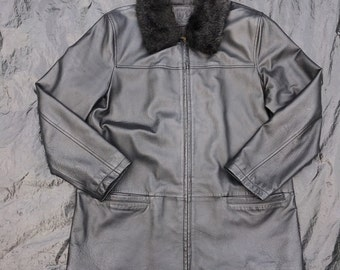 Genuine Leather Black Fur Collared Aviator Flight Flying Jacket Size UK 16 Vintage Rare Winter Smart Buttery Soft Leather Coat