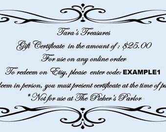 Shop Gift Certificates - 25 Dollars