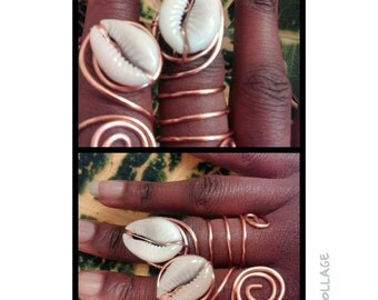 Copper Goddess Rings with Shell