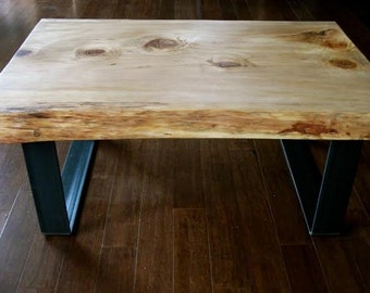 "SOLD-OUT 16-27 Coffee Table in pine, 2.5 ""thick on steel bracket"