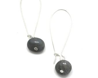 Long earrings ear hooks, hangers, large Labradorite