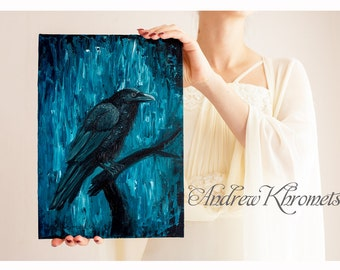 Bird painting-Crow-original oil wildlife nature-Raven- Blue-Black-Bird Portrait-Oil Painting-Woodland Animal - Gothic Art