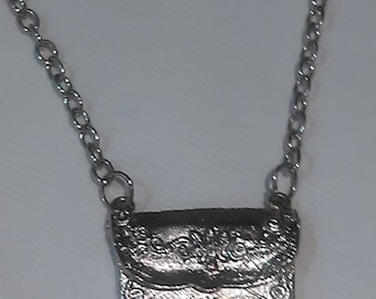 Vintage Envelope Chain Necklace silver plated