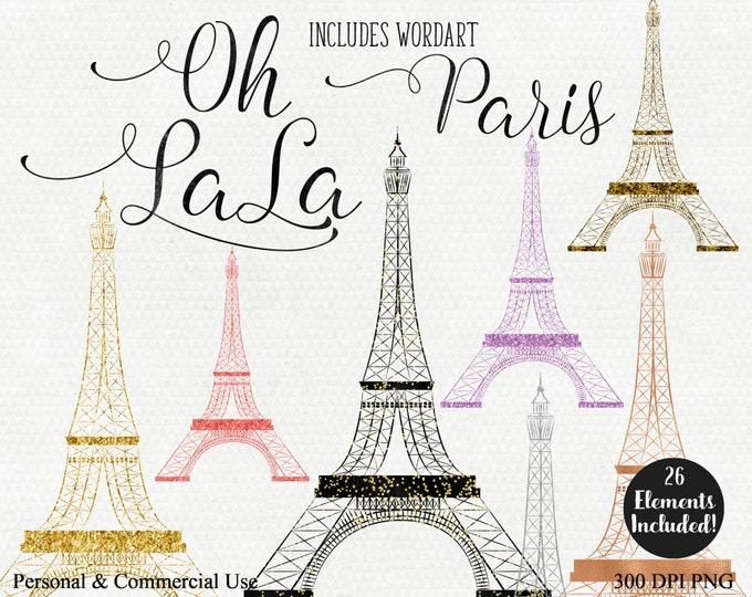 PARIS EIFFEL TOWER Clipart Commercial Use Clip Art Rose Gold Eiffel Tower Word Art Oh La La Metallic Gold Foil Paris Images Confetti Clipart