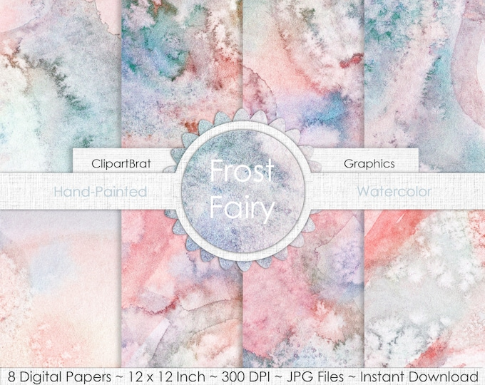 FAIRY WATERCOLOR Digital Paper Pack Commercial Use Background Paper Navy Pink Frost Hand-Painted REAL Watercolor Digital Paper Watercolour