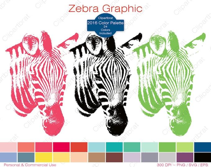 ZEBRA Clipart Commercial Use Clipart Zebra Graphic 2016 Color Palette 24 Colors Zebra Vector Graphic Zoo Animal Digital Sticker Png Eps Svg