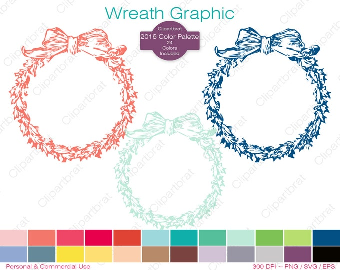 FLORAL WREATH Clipart Commercial Use Clipart Bow Wreath Graphic 2016 Color Palette 24 Colors Wreath Frame Vector Graphic Stamp Png Eps Svg