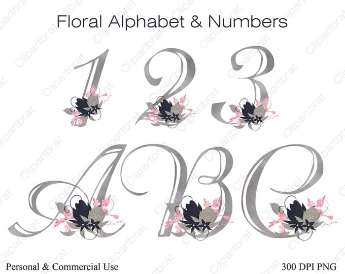 SILVER FOIL ALPHABET & Numbers Clip art Commercial Use Clipart Wedding Monogram Letters Blush Pink Watercolor Flower Alphabet Floral Numbers