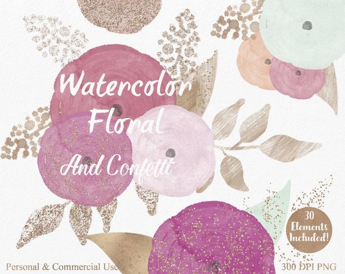 PEACH & MINT WATERCOLOR Floral Clipart Commercial Use Clipart 30 Coral Watercolor Flowers and Gold Confetti Watercolor Roses Floral Clip Art