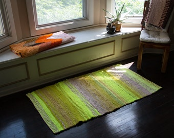 Home Made Woven Neon Yellow Tan Rag Rug Green