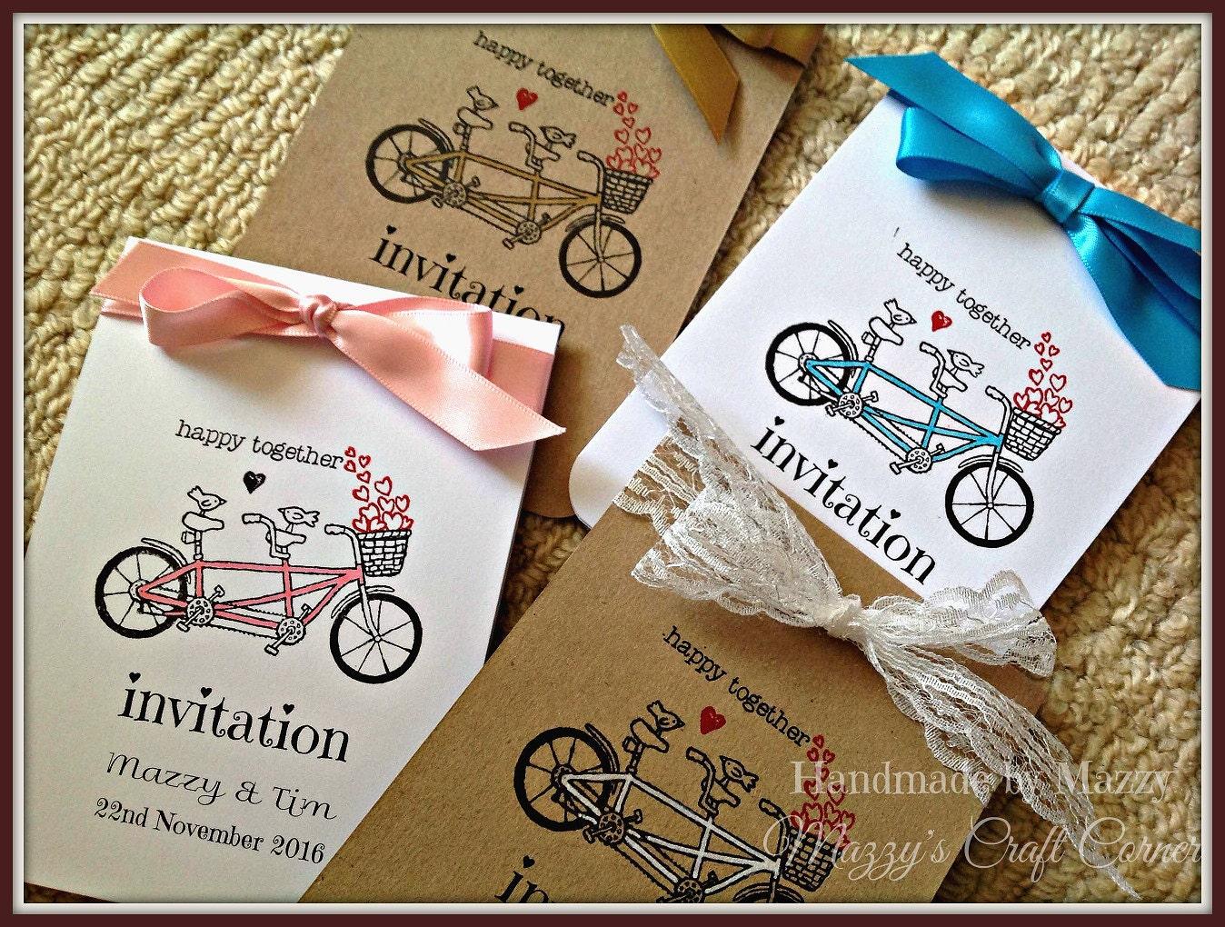 Vintage Handmade Wedding Invitations: 10 Handmade Tandem Bicycle Vintage Wedding Invitations