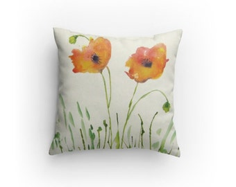 Decorative Throw Pillow, Watercolor Poppy Design, with Pillow Insert, Dorm Room, Bedroom, Insert Included