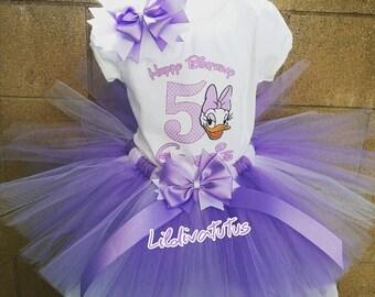 Handmade Daisy duck tutu set / Daisy birthday outfit / Daisy tutu set / Daisy birthday shirt / Daisy