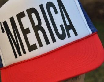 Trucker Hat, Hat, Trucker Hat Printed Mesh Cap 'MERICA