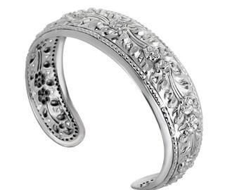 Wide Floral Silver Bracelet, Flowers Cuff Silver Bracelet, Adjustable Cuff Bracelet, Blackend Silver Bracelet For Women, Boho Chic Bracelet