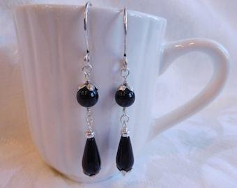 Sterling Silver & Black Onyx Dangle Earrings