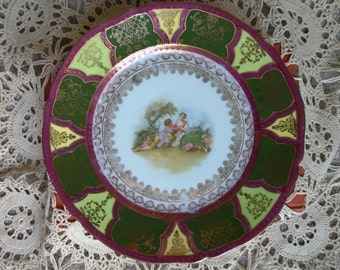 Fragonard Style Plate with Colonial Scene