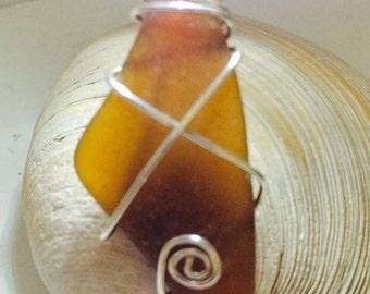 Amber Sea Glass Pendant