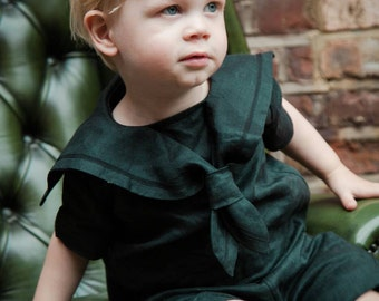 Gothic baby clothes, black boys suit,  goth, steampunk baby,  victorian style, gender neutral baby clothes, gothic sailor suit