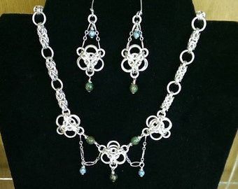 Aura Chain Mail Necklace and Earring Set
